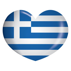Illustration heart icon with flag of Greece. Ideal for catalogs of institutional materials and geography