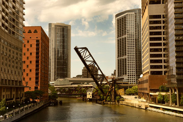 Chicago Downtown view with drawbridge and Chicago River