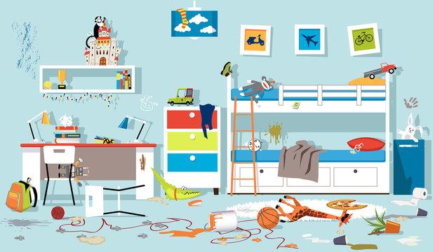 Interior of messy kids bedroom, EPS 8 vector illustration, no transparencies