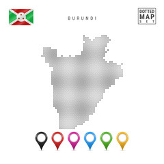 Dots Pattern Vector Map of Burundi. Stylized Silhouette of Burundi. Flag of Burundi. Set of Multicolored Map Markers