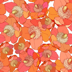Seamless pattern with magnolia. Vector illustration. Background with bright exotic flowers.