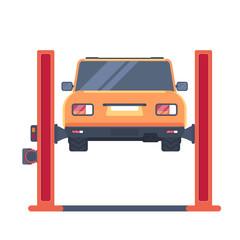 Car on lift platform. Repair service. Garage equipment. Vector illustration. Back view.