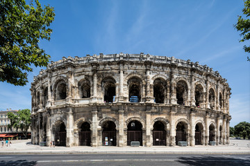 The ancient Roman amphitheatre at Nimes in provence, France
