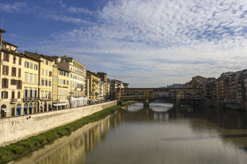 Day view of historic Ponte Vecchio bridge in Florence, Italy