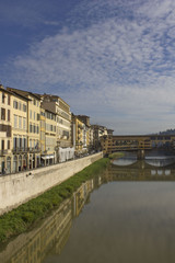 Arno river and historic Ponte Vecchio bridge in Florence