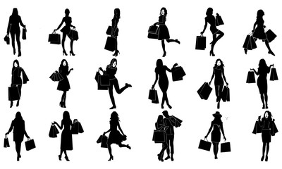 collection of silhouette images of women's expression when shopping