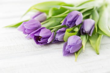 Bouquet of purple(violet) tulips on white rustic wooden background. Spring flowers. Greeting card for Valentine's Day, Woman's Day and Mother's Day. Soft view