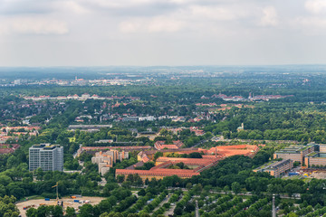 Munich, Germany - June 09, 2018: High angle view over Munich. Panorama of Munich, Germany.