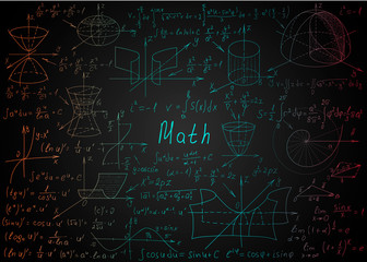 Mathematical colorful formulas drawn by hand on a black chalkboard for the background. Vector illustration.