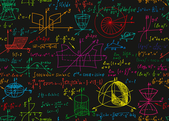 Math science vector seamless pattern with handwritten formulas on the black chalkboard for the background.