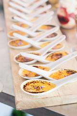 creme brulee in individual spoons
