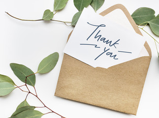 Thank You card in an envelope