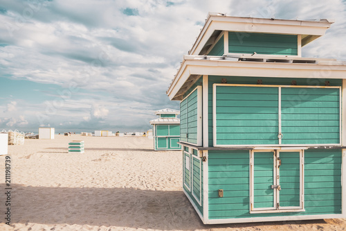 Beach Cabins Near The S With Miami Beautiful Blue Sky In Background