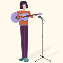 Musician with guitar and microphone. Caucasian or Asian tall slender artist man playing music instrument and singing. Nice illustration with shadow on light background. Detailed flat style.