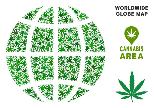 Cannabis planet globe mosaic of marijuana leaves. Narcotic addiction concept. Vector planet globe is constructed from green cannabis leaves. Abstract territory plan in green color tones.