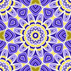 geometric pattern in floral style. Ethnic ornament. Vector illustration. For modern interior design, fashion textile print, wallpaper