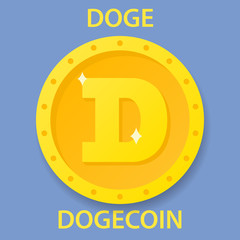 Dogecoin cryptocurrency blockchain icon. Virtual electronic, internet money or cryptocoin symbol, logo