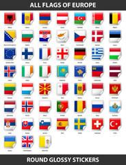 Flags of all countries of Europe. Round Glossy Stickers
