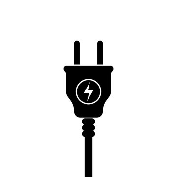 European Electric Plug icon, symbol. Europe standart. lightning sign