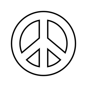 Peace symbol. Outline black and white vector graphic on separated background