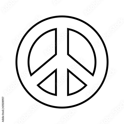 Peace Symbol Outline Black And White Vector Graphic On Separated