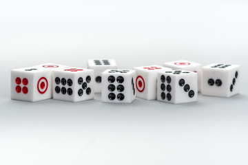 Stack of dice on white background