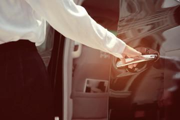 staff open the car door, service