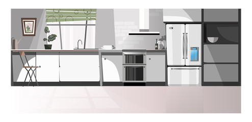 Modern kitchen room with appliances vector illustration