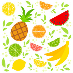 Set of colored isolated apetitic fruits on a white background. Juicy, bright, delicious tropical food. Simple flat vector illustration. Suitable for design of packages, postcards, advertising.