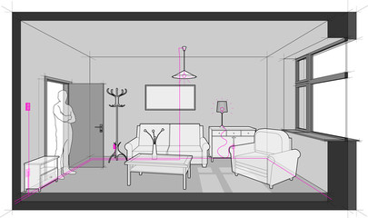 diagram of a single room furnished with sofa, chair, table, cabinets, ceiling lamp, cloths hanger and painting on the wall and electric installations, cables, switches and lamps