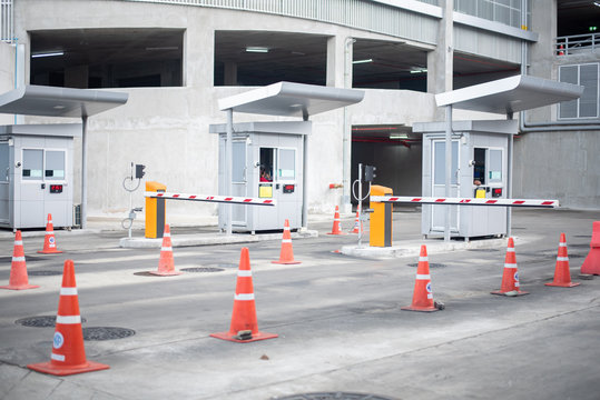 entrance to parking lot, Barrier on the car parking.