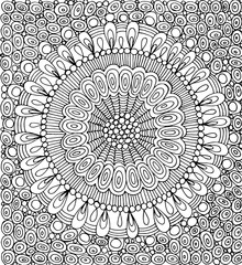 Doodle mandala with circle pattern background. Graphic artwork - coloring page for adults. Vector illustration