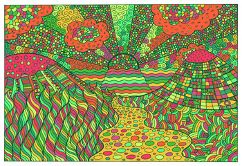Doodle surreal landscape. Fantastic colorful psychedelic graphic artwork. Vector illustration
