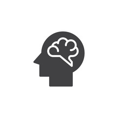 Human brain vector icon. filled flat sign for mobile concept and web design. Brainstorm simple solid icon. Symbol, logo illustration. Pixel perfect vector graphics