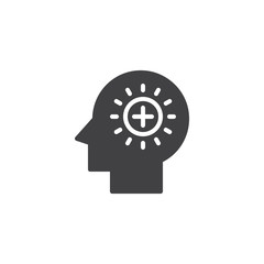 Plus signs in human head vector icon. filled flat sign for mobile concept and web design. Positive think simple solid icon. Symbol, logo illustration. Pixel perfect vector graphics