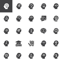 Psychology vector icons set, modern solid symbol collection, filled style pictogram pack. Signs, logo illustration. Set includes icons as Creativity, Solution, Confusion, Human Head, Mind, Brain
