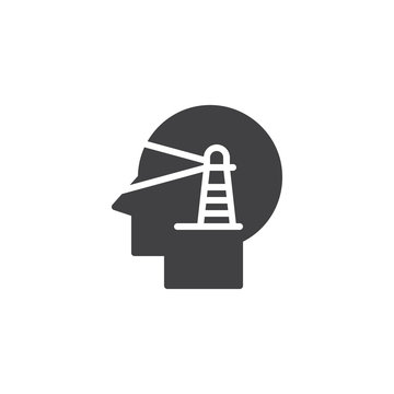 Human head with lighthouse vector icon. filled flat sign for mobile concept and web design. Vision Perspective simple solid icon. Symbol, logo illustration. Pixel perfect vector graphics