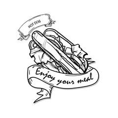 fast food hot dog drawing object black white
