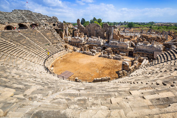 Architecture of the ancient Roman theatre in Side, Turkey