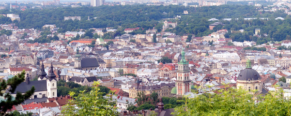 Roofs and domes of downtown of ancient city Lviv, Ukraine.