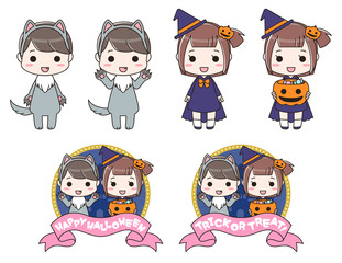 ハロウィンの仮装をした男の子と女の子