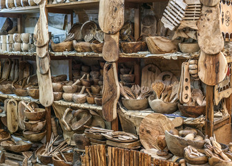 Tunisia, beautiful crafts, dishes and souvenirs made of olive wood.
