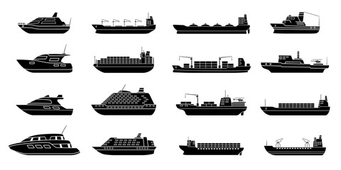 Set of commercial cargo ships. Sea transportation vehicle. Transport boat.