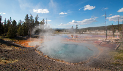 Firehole Spring on Firehole Lake Drive in Yellowstone National Park in Wyoming United States