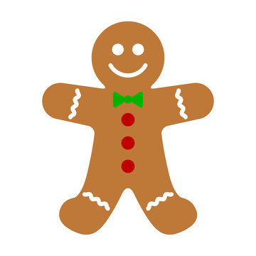 Gingerbread man holiday biscuit or cookie flat color vector icon for food apps and websites