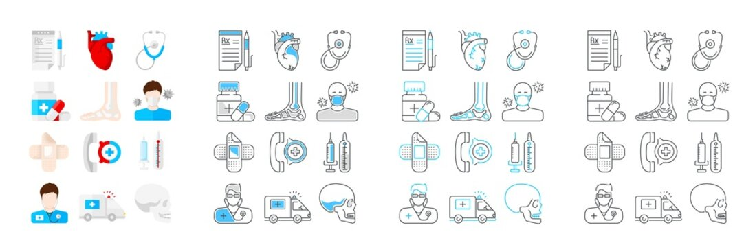 Vector graphic set. Medicine and health care. Editable stroke size. Icons in flat, contour, outline, thin and linear design. Simple isolated icons. Concept illustration. Sign, symbol, element.