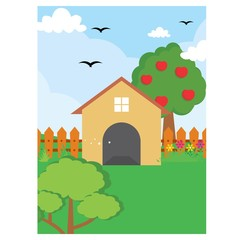 Poster Ranch barn backyard house nature scenery landscape background