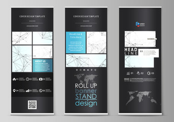 Roll up banner stands, abstract geometric style templates, vertical vector flyers, flag layouts. Chemistry pattern, connecting lines and dots, molecule structure on white, geometric graphic background