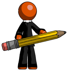 Orange Clergy Man writer or blogger holding large pencil