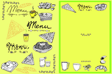 Hand drawn menu elements: pasta, pizza, mineral water, eggs on toast, pancakes, croissants, potato, coffee cups, sketch for decoration the menu of cafe or restaurant,